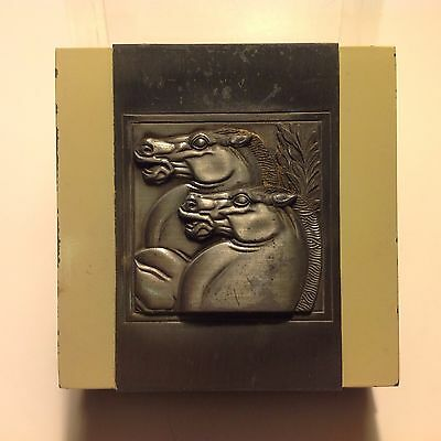 Vintage ART DECO Machine Age RAISED RELIEF Horses Design HICKOK BOX 1930s