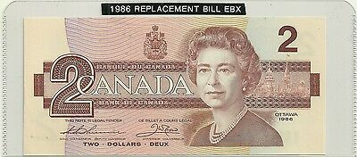 1986 UNC  Canada 2 $ Bill  Prefix Thiessen/Crow EBX 3439609 Replacement 55bA-i