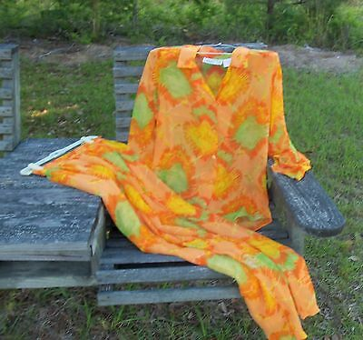 Vtg 70s Designer carole Liz Womens  2 Pc pant Suit sheer orange green yellow