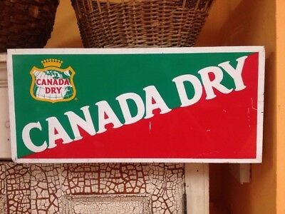 "Vintage Canada Dry Tin Sign From Soda Bottle Store Display Rack 22"" X 10"""