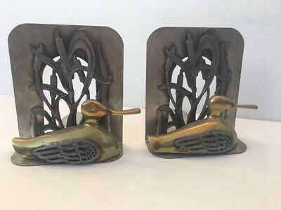 Vintage METZKE Duck Bookends Brass Pewter Metal 1980 USA