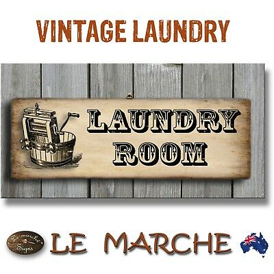 "👖 LAUNDRY Vintage ""Laundry Room"" Wooden Rustic Plaque / Sign (FREE POST) 👖"