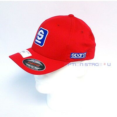 Sparco Official Racing S Icon Red FlexFit Baseball Cap Hat Size S/M SP11R