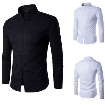 Chinese Traditional Style Mens Shirt Casual Shirts  Solid Color Mandarin Collar