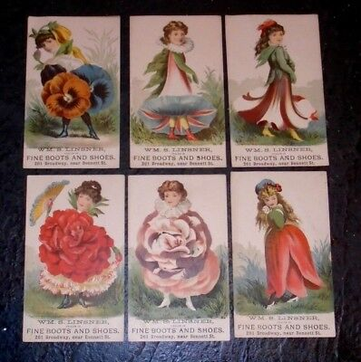 set 6 flower girl Victorian  trade card advertising shoes