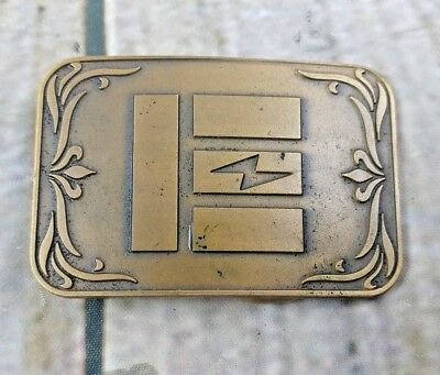 Rare Vintage Emerson Electric Military Solid Brass Belt Buckle By O.C. Tanner