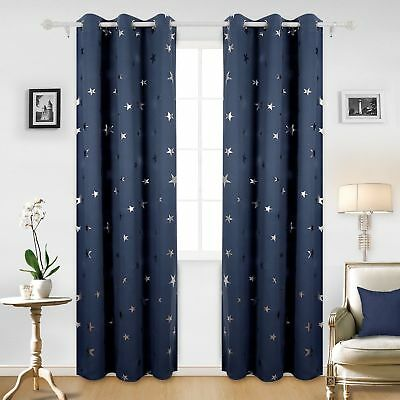 1pc Deconovo Foil Print Star Grommet  Thermal Insulated Window Blackout Curtains