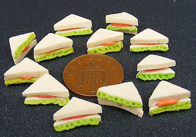 1:12 Scale 12 Loose White Bread Sandwiches Tumdee Dolls House Kitchen Accessory