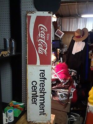 """Vintage Rusty Store Coca -Cola Refreshment Center Metal Tin Sign 48"""" Length 10"""""""