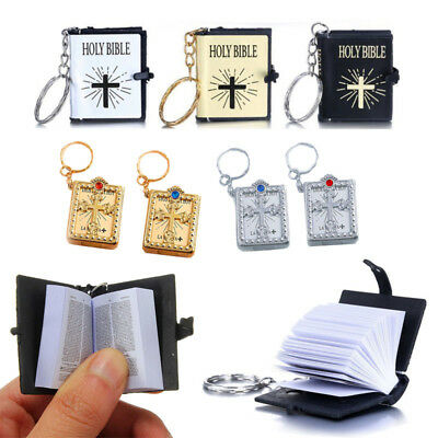 New Mini Bible Keychain English HOLY BIBLE Religious Christian Jesus Book Cross