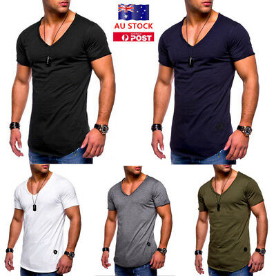 Mens Summer Pure Color Casual Short Sleeve  V-neck T-Shirts Slim Fit Cotton Tee