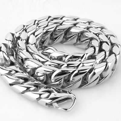 "24"" Top Quality Silver Tone 316L Stainless Steel Curb Cuban Chain Men's Necklace"