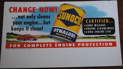 "VINTAGE SUNOCO OiL ADVERTISING  DYNALUBE MOTOR OIL INK BLOTTER NOS CA 1950""S"