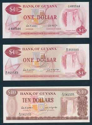 Guyana: 1966-1992 $1, $5 & $10 COLLECTION of 6 DIFFERENT Notes. UNC Cat $30