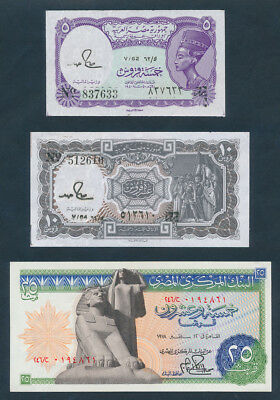 Egypt: 1976-1998 COLLECTION of 5 DIFFERENT NOTES including ANCIENT TREASURES