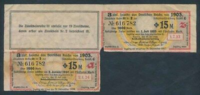Germany: WEIMAR REPUBLIC 25-7-1922 15 Mark Bond Coupons