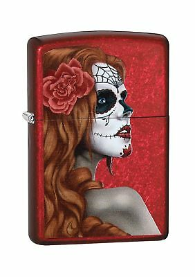 Zippo Day Of The Dead Girl Windproof Lighter - Candy Apple Red