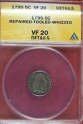 1795 - Anacs Vf20 Details Repaired Tooled Whizzed 5 Cent!!!!  #b13207