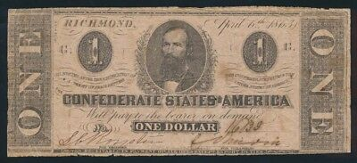 """USA: Confederate States 6-4-1863 $1 """"CLEMENT C. CLAY"""" Portrait. CAT VF $107"""