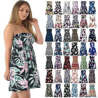 Womens Floral Gathered Ruched Sheering Boob Tube Strapless Bandeau Swing Top