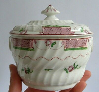 Antique English 18th century sucrier/ sugar bowl- fluted sides & lid- Lovely.