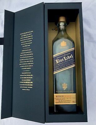 Johnnie Walker Blue Label Bottle with gift box and bottle charm - EMPTY Bottle