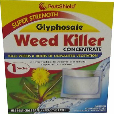 ** Pestshield Super Strength Glyphosate Weed Killer Concentrate 3 Sachets New **