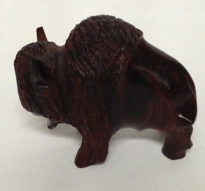 """Hand Carved Wood Wooden Buffalo Charging Figurine 31/2"""" Long"""
