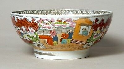 Handsome Large Antique English Pearlware Pottery Punch Bowl