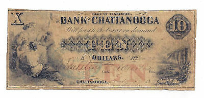 185X The Bank of Chattanooga, TN - Ten Dollar Obsolete Note No.1473