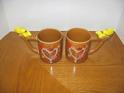 Snoopy Peanuts with Woodstock on the Handle Coffee Mugs-Set of Two