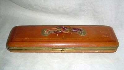 ANTIQUE 1800's FRENCH ART DECO OR NOUVEAU LEATHER COVERED GLOVE BOX W/ STRETCHER