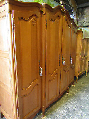 Superb bow top French carved oak breakfront armoire w shelves,wardrobe,louis xv