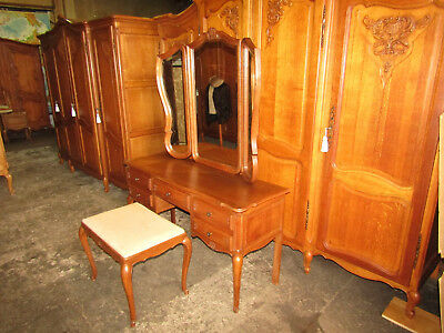 French carved oak dressing table with triple mirrors,stool and drawers,Louis xv