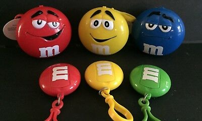 M&M's 6pc Lot Backpack Clip on & Clip on Container-RARE-Very Cute