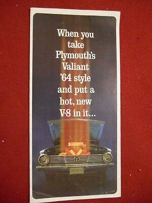 "1964 Plymouth Valiant ""V-8 Power!"" Sales Brochure/Mailer; 11-1/4"" X 16-1/4"""