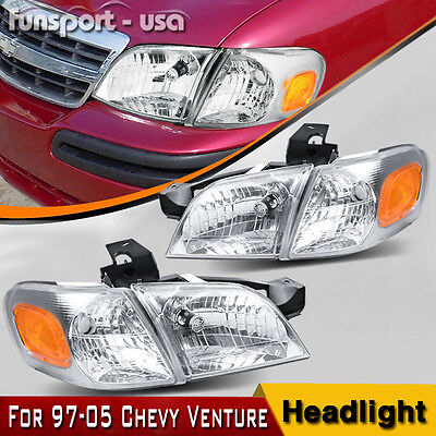 4PC Headlights for 1997-2005 Chevy Venture Assembly Amber + Signal Corner Lights
