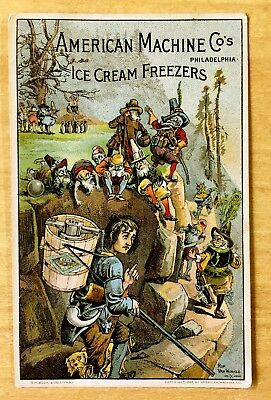 Victorian Trade Card RIP VAN WINKLE American Machine ICE CREAM FREEZERS 1889