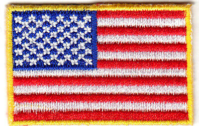 """Small American Flag w/Gold Border 1 3/4"""" USA Iron On Embroidered Patch"""