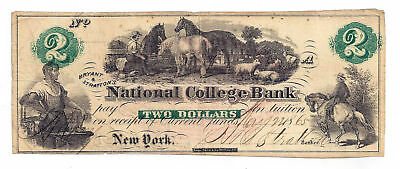 1865 National College Bank, New York - Two Dollar Obsolete College Bank Note