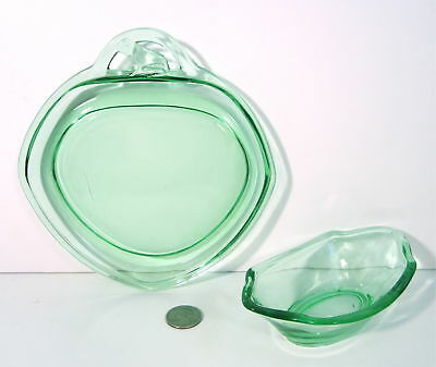 "RARE HEISEY Glass Moongleam Green FROG Handled 7"" Cheese Plate 6"" Relish # 1210"
