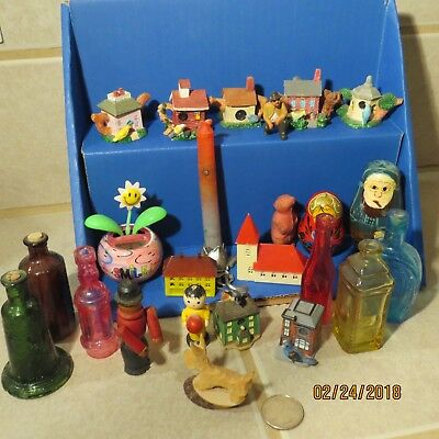 Lot of  miniature birdhouses, 2 are thimbles, wheaton bottles, and more...