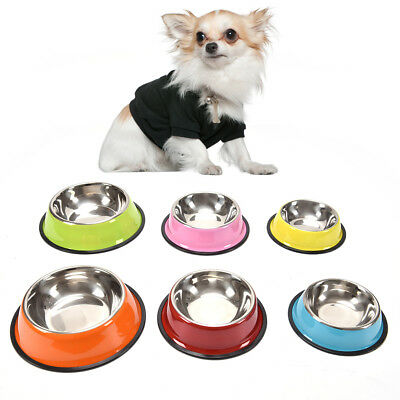 stainless steel dog bowls pet food water feeder for cat dog feeding bowlsD3F