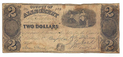 1848 County of Allegheny, Pittsburgh, Pa - Two Dollar Obsolete Note No.936
