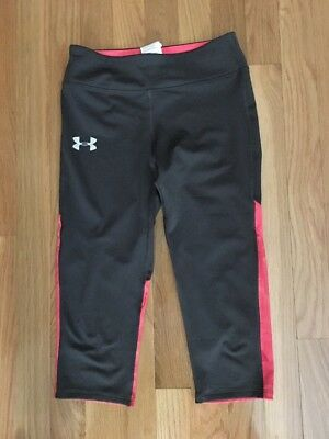 Under Armour Heat Gear Youth Girls Gray/Pink Fitted Capri Pants - Ymd