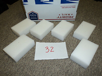 PLASTIC 6 PIECE WHITE DELRIN/ ACETAL BLOCK LOT, CNC Mill, BEARINGS ACETAL (#32)