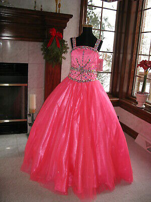 Perfect Angels 1505 Neon Coral Pink Girls Pageant Gown sz 6