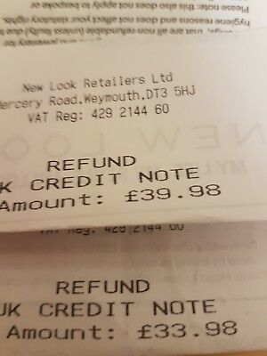 £73.96 new look credit note / voucher / gift card