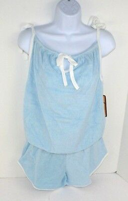 Vtg 1980's Vanderbilt 2pc Terry Cloth Tie Top Tank & Shorts Set, Blue Large NOS