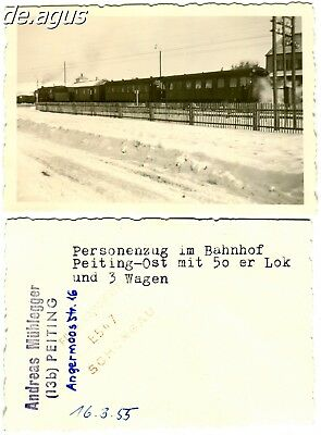 """Vintage Photo from 1955 passenger train , """"Peiting Ost""""-Station train"""